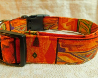 Tribal Dog Collar / Southwestern Dog Collar / Southwest / Native American Dog Collar / First Nations /  Male Dog Collar / Orange Dog Collar
