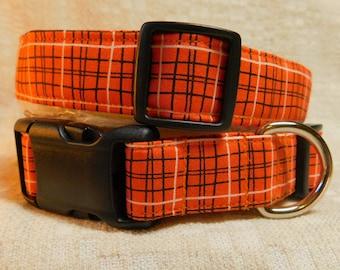 Orange Dog Collar / Plaid Dog Collar / Hipster Dog Collar /  Dog Gift / Orange and Black Dog Collar