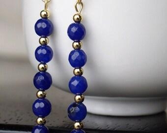 Long Blue Stone Dangle Earrings
