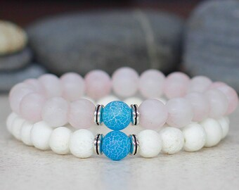 Boho bracelet set Healing bracelet Rose quartz bracelet Beaded bracelet stack bracelet Gemstone jewelry Stretch bracelet Gift for mom gift