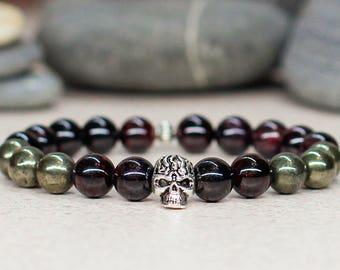Birthday gift for men bracelet Skull bracelet Skull jewelry Garnet bracelet Pyrite bracelet Punk jewelry Gothic jewelry Gemstone bracelet
