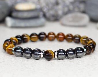 Tiger eye bracelet Men bracelet Gemstone jewelry Fashion jewelry Birthday gift for men gift for boyfriend gift for dad gift for husband gift
