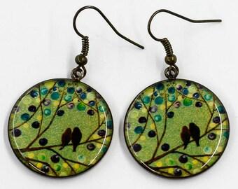 Green Bird earrings Dangle earrings Statement earrings Mother day gift for mom birthday gift for sister gift for girlfriend gift for her bff