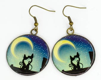 Black cat earrings Blue earrings Cat jewelry Animal jewelry Cat lover gift Romantic gifts for daughter gift for girlfriend birthday gift her