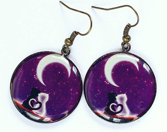 Purple Earrings Dangle Cat Jewelry Be My Girlfriend Gift For Sister Anniversary Gifts Wife Best Friend Women
