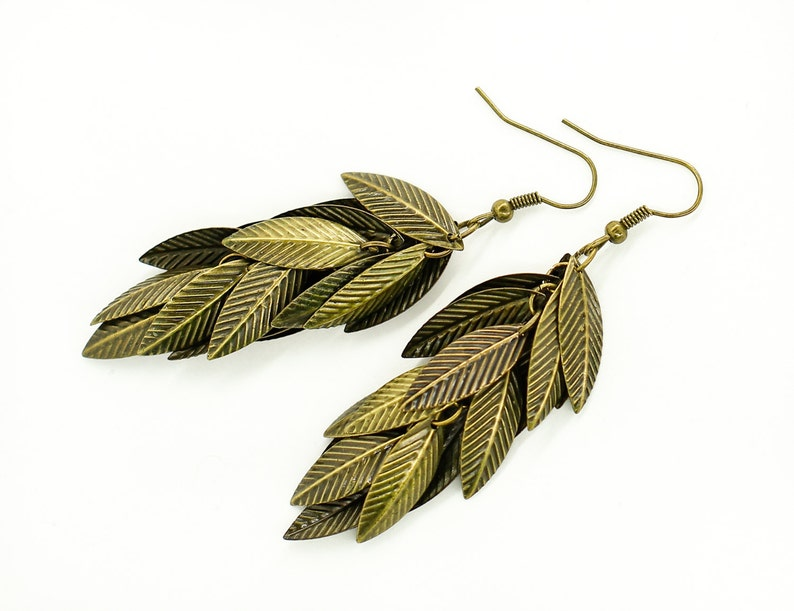 Dangle earrings Leaf earrings Boho jewelry Tribal jewelry Mother in law gift for daughter gift for sister birthday gift for grandma gift her