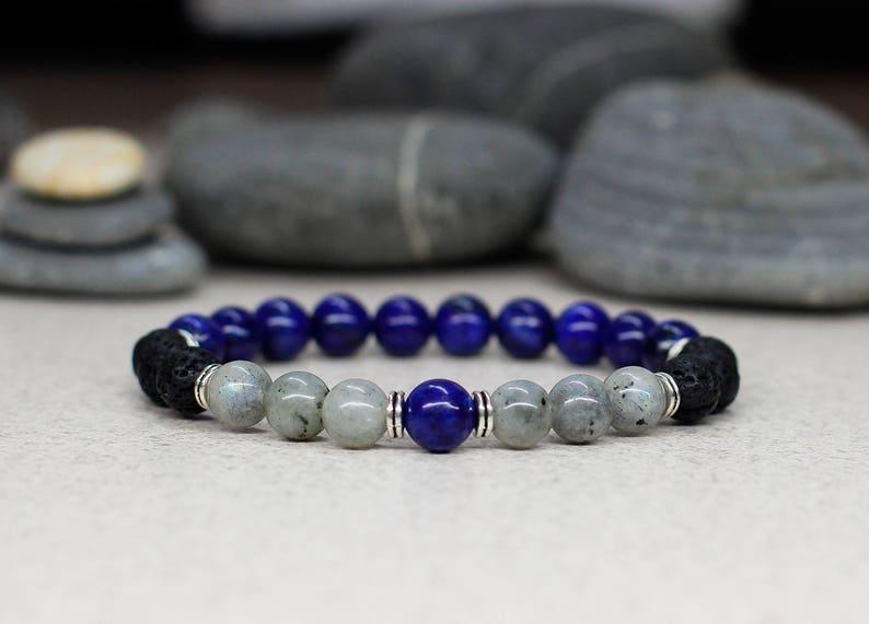 Lapis lazuli bracelet Mens bracelet Mens jewelry Best gifts image 0