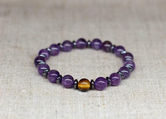 Balance Relieves stress 8mm Dark Purple Amethyst Bracelet mind /& soul Healing of body Amethyst Bracelet Gift For Her Meditation