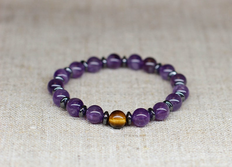 Amethyst jewelry Amethyst bracelet Serenity now Stress relief image 0