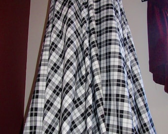 e7e89a84e55c88 Menzies Black Full Circle skirt~Wedding Party Wear Plaid Skirt~Black and  White Maxi Full Circle Skirt~Custom make Skirt Plus Sz@sohoskirts