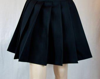 994cfb6f2b High Waist Solid Black Pleated Skirt~Black Skirt ~Cosplay Black Skirt~Custom  make School Girl Uniform Skirt~Small to Plus size@sohoskirts