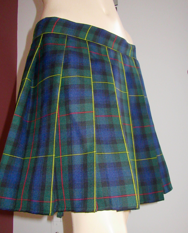 56a3957e6 Plus Size Blue Plaid Skirt   Saddha