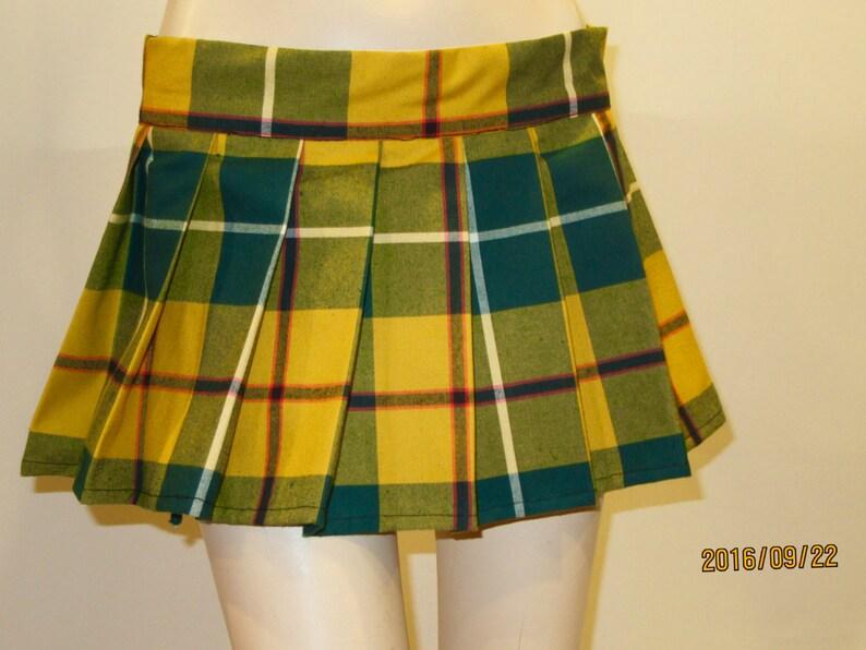 Yellow Green Plaid Pleated mini Skirts ~Halloween Plaid Skirts Cosplay pleated Tartan Plaid plus size skirts Custom make @sohoskirts