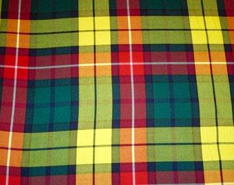 Modern Tartan Buchanan Fabric By Yard~Yellow Red Green Plaid Fabric~Suiting Kilt Jacket Fabric Highland Games Buchanan Fabric @ sohoskirts