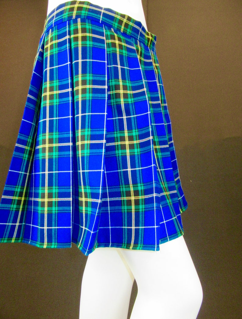 9166f9d07 Nova Scotia Skirt Blue Yellow Plaid Pleated SkirtSmall to | Etsy