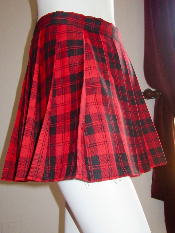 77511cc39152db Menzies Red Plaid Pleated SkirtRed Black Plaid Tartan Plus | Etsy