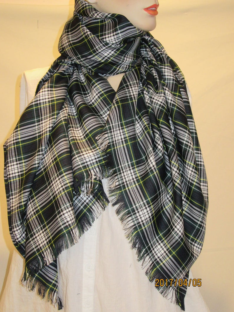 c2a3ec43880eb Dress Gordon ScarfBlanket Scarf Wrap in Green White Plaid | Etsy