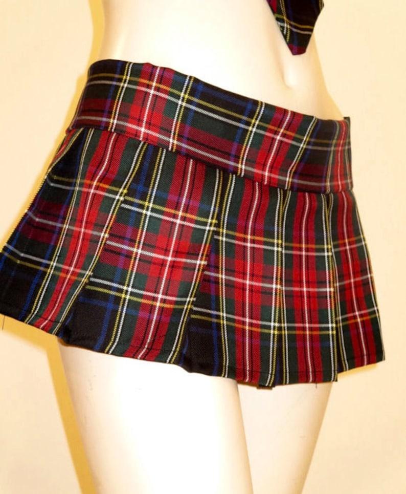 493221ef9 Black Red Plaid Tartan Mini Pleated Skirt Small to Plus size | Etsy