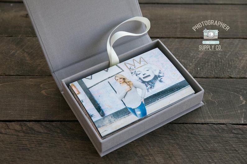 6880d7367706 SET OF 10 4x6 Print Slim Linen Fabric Photo Box Custom Photo