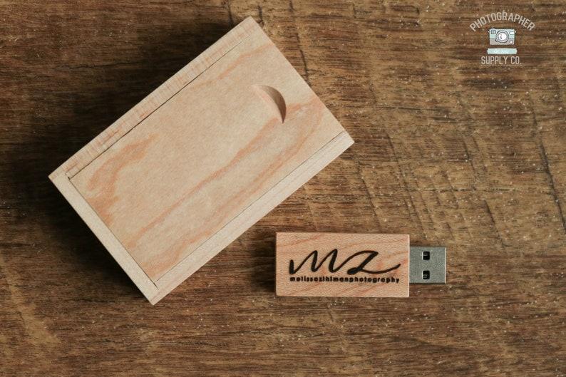 4GB Wood USB Flash Drive Engraved  Personalized USB Thumb image 0