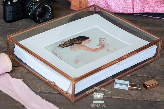 8x10 Glass Rose Gold Brass Photo Box Custom Print Photography Packaging