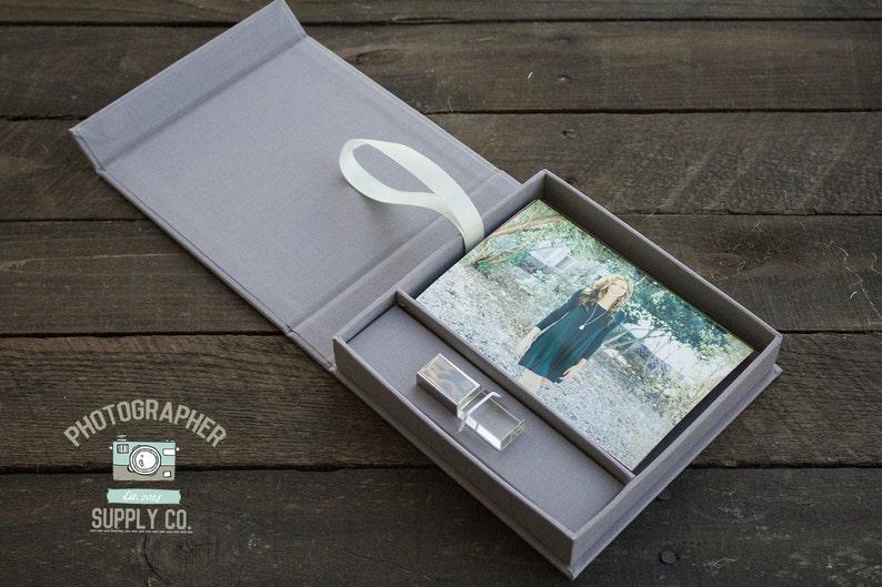 322d10a84949 SET OF 10 Slim Linen 46 Photo   USB Flash Drive Box Custom