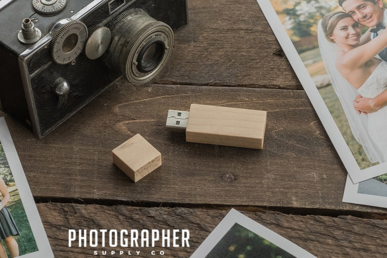 8GB Wooden USB Flash Drive with Magnet Top  Light Wood USB image 1