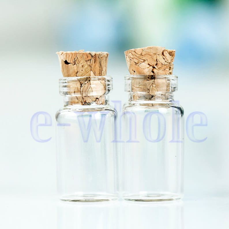 Nueva venta por mayor 100 un 2 Ml 16x35mm minúsculo Transparente Botella De Vidrio Frasco Con Corcho