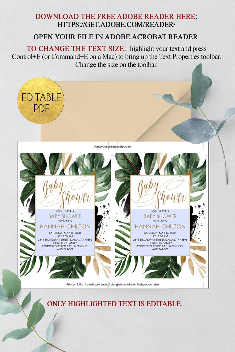 instant download tropical invitation template Tropical baby shower invitation template tropical baby shower invite invitation printable