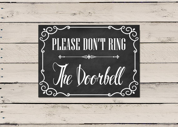 Please Do Not Ring Doorbell Sign Do Not Ring Doorbell Front Etsy