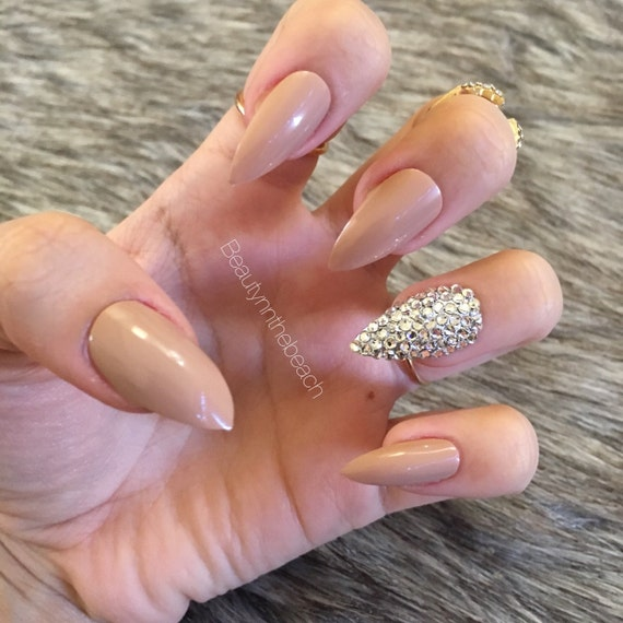 Stiletto nails with rhinestones nude white brown maroon | Etsy