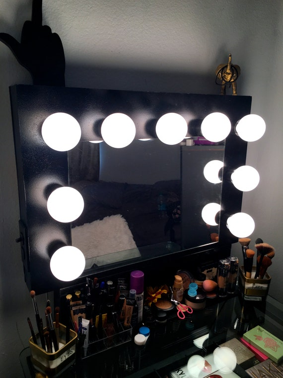 Hollywood Vanity Mirror With Lights Makeup Mirror Black Etsy
