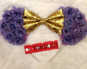 Tangled minnie ears floral minnie ears purple and gold
