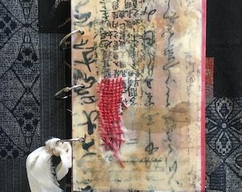 Fotoalbum Tagebuch Gästebuch Art Journal Junk Recycltes Buch Journal Reise Journal Encaustic Bienenwachs handgemacht Buchringe
