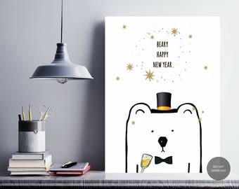 printable new years eve decor 2018 beary happy new year polar bear illustration wall art new years card digital art instant download