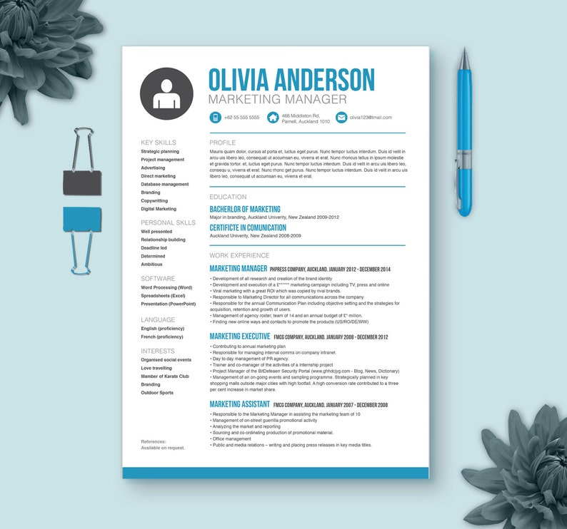 Resume + Cover Letter + Reference Page | Microsoft Word Template