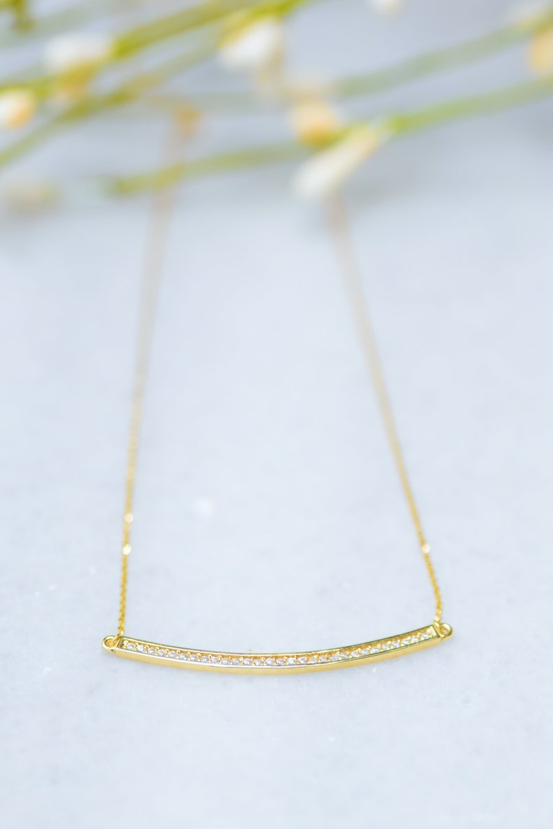 Gold Bar Necklace,14K Gold Curved Bar Pendant,Cubic Zirconia Bar,For Her,Graduation Gift,Birthday Gift,Bridesmaids Gift Layered Necklace