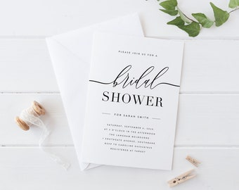 printable bridal shower invitation black and white bridal shower invitation simple bridal shower invitation modern bridal shower invite