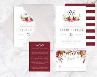 Wedding Invitation Set Printable, Autumn Fall Flower Wedding Invites, Botanical Watercolor Wedding Theme