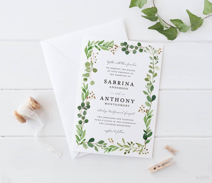 Printable Wedding Invitation Sets: Printable Wedding Invitation Set Green Leaves Eucalyptus