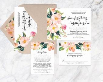 Printable Wedding Invitation Set, Flower Wedding Invitation Set, Bohemian Wedding Invitation Set, Garden Wedding Invitation Set