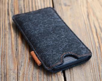 iPhone 5 sleeve Felt iPhone pouch iPhone SE case Black sleeve Soft iPhone case
