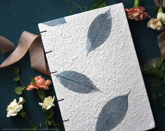 Handmade Book· Art Journal· Journal Diary· Lined Notebook· Dot Grid· Dried Leaves Notebook· Watercolor Book· White Notebook· Large· A5
