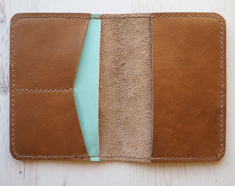 Leather Passport Holder, Leather Documents Holder, Pastel Passport Sleeve, Travel Folder, Gift for Her, Personalised Leather Travel Gift
