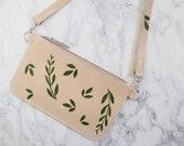 Cream Leather Shoulder Bag, Botanical Print Design, Slim Cross Body Bag, Gift for Her, Hand Painted Leather Bag