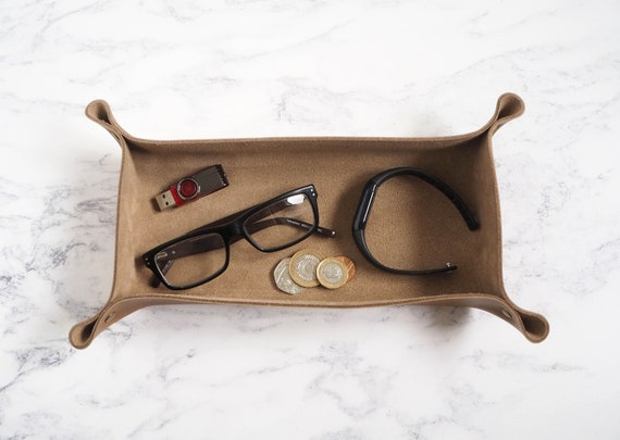 Rectangular Leather Coin Tray, Personalised Gift for Dad, 3rd Anniversary, Cuff links Tray, Ring Dish, Home Office Desk Tidy