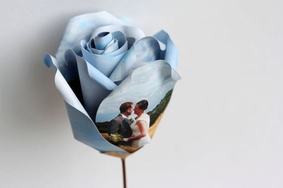 Personalised Photograph Paper Rose, 1st Wedding Anniversary Gift, Unique Handmade Flower in Display Box, Gift for Mum, Girlfriend
