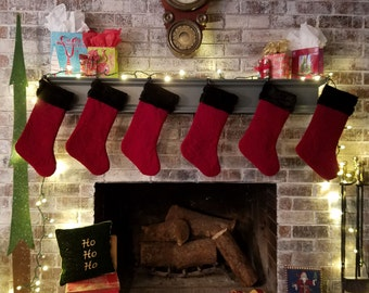 Quilted Red Velvet Christmas Stockings