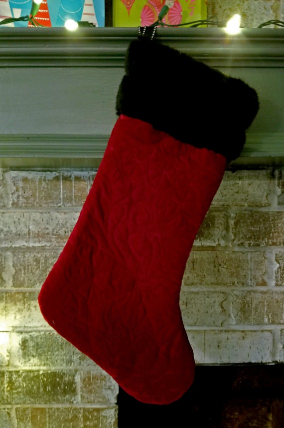 Red Velvet Christmas Stockings.Quilted Red Velvet Christmas Stockings