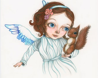 Angel and Squirrel - Sweet Original Pencil Illustration